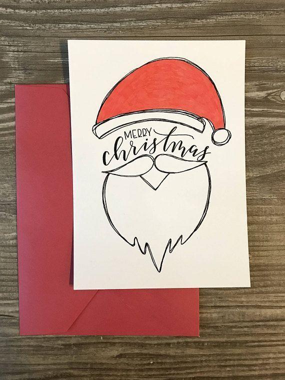 10 handgefertigte Weihnachtskarten mit Bart 5x7 mit rotem Umschlag ...
