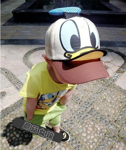 dda53d988ef Kwaii Donald Duck Baseball Cap petten kidsfor boys and girls Snapback Caps  Hip Hop Flat summer kids hat Funny Hats for 3-8Yrs