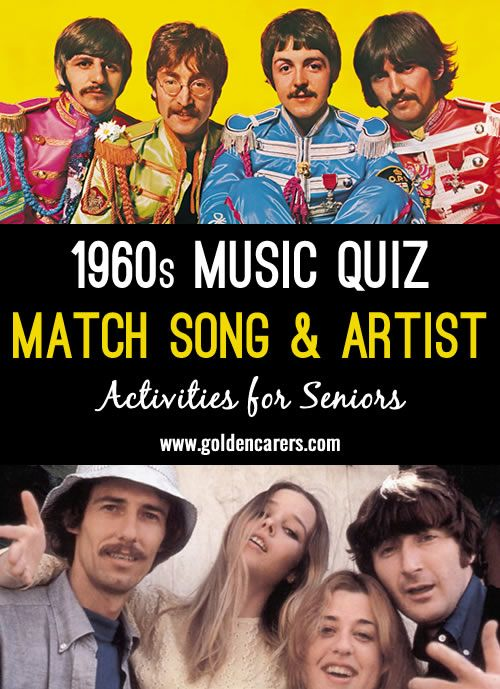 Match Songs with Artists Quiz 5: 1960s | Activity Director
