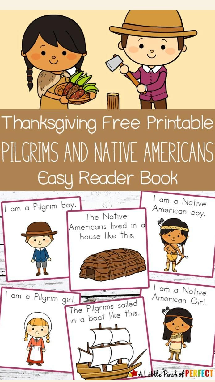 FREE PRINTABLE: Thanksgiving Pilgrims & Native American Easy Reader Book | A Little Pinch of Perfect
