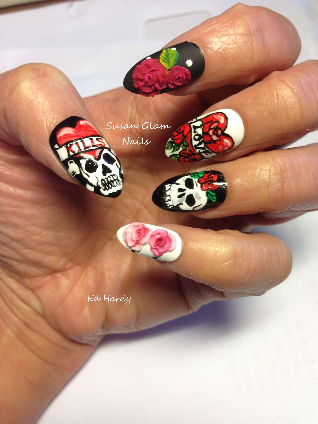 Ed Hardy inspired nails with embossed roses | Brookie | Pinterest ...