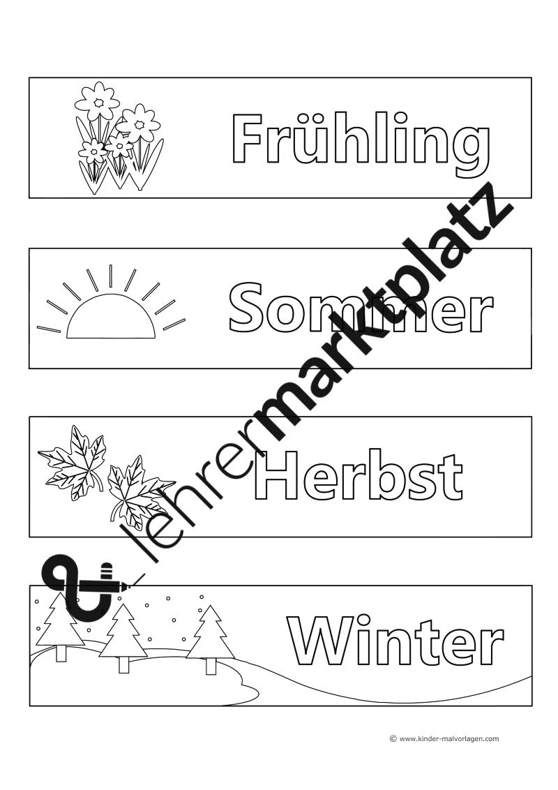 Jahreszeiten - Malvorlagen und Titelblätter – Kunst, Lehreralltag ...