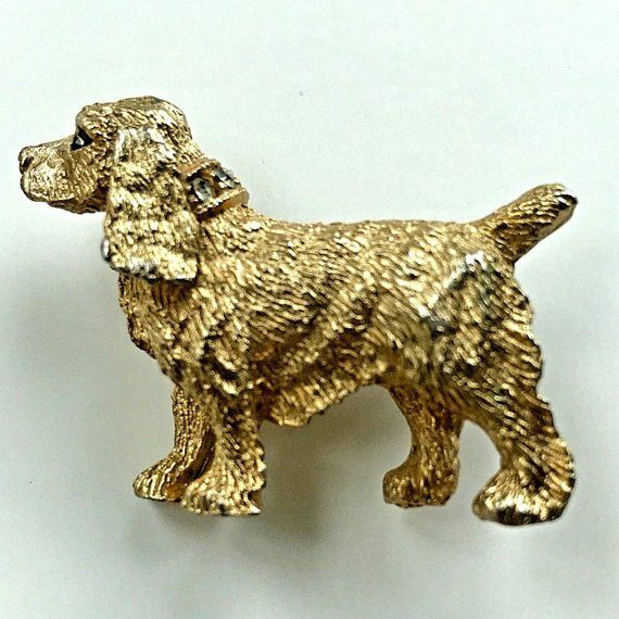 Vintage Nemo Dog Brooch Spaniel Signed Gold Tone Designer Pin Rhinestone Estate Jewelry Dog Brooch Silver Jewelry Gifts Dog Pin