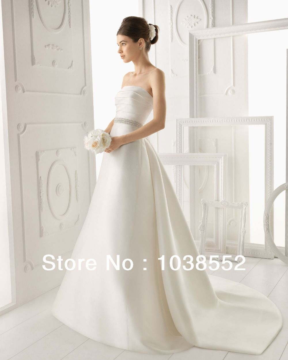 Sexy Aire Barcelona Wedding Dresses With Off-Shoulder 1/2 Long Sleeve A-Line Gorgeous Bridal Gowns Crystle Sash $155.00