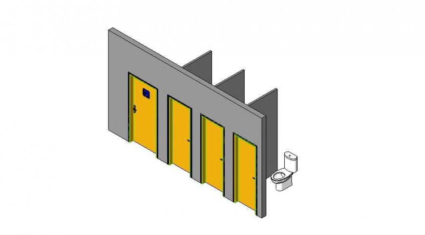 Public Toilet Open 3d Model In Revit File Cadbull In 2020