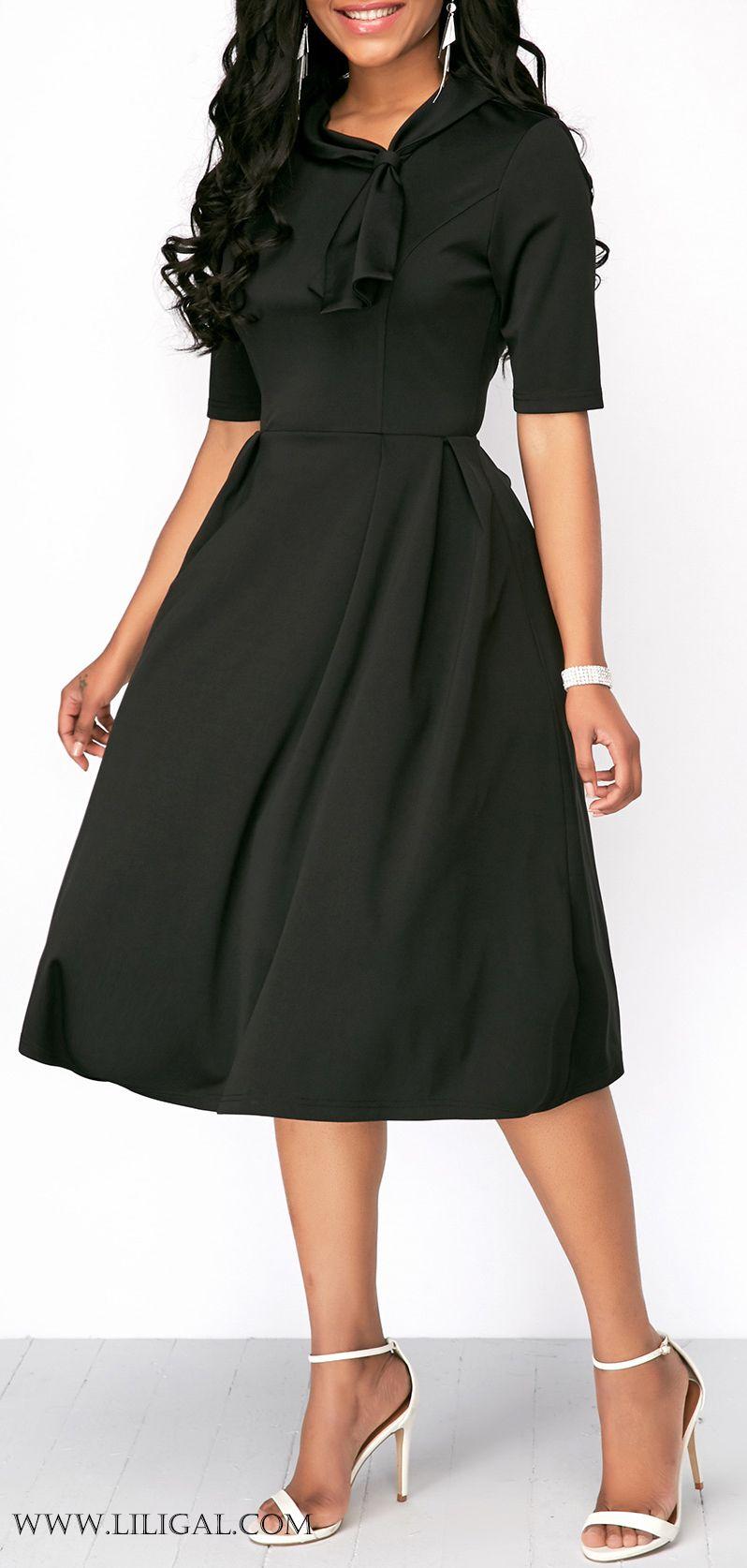High Waist Half Sleeve Black Dress Vestidos Pinterest Bri Samsung Smartwatch Gear S3 Frontier Sm R760ndaaxar Liligal Dresses Womenswear Womensfashion