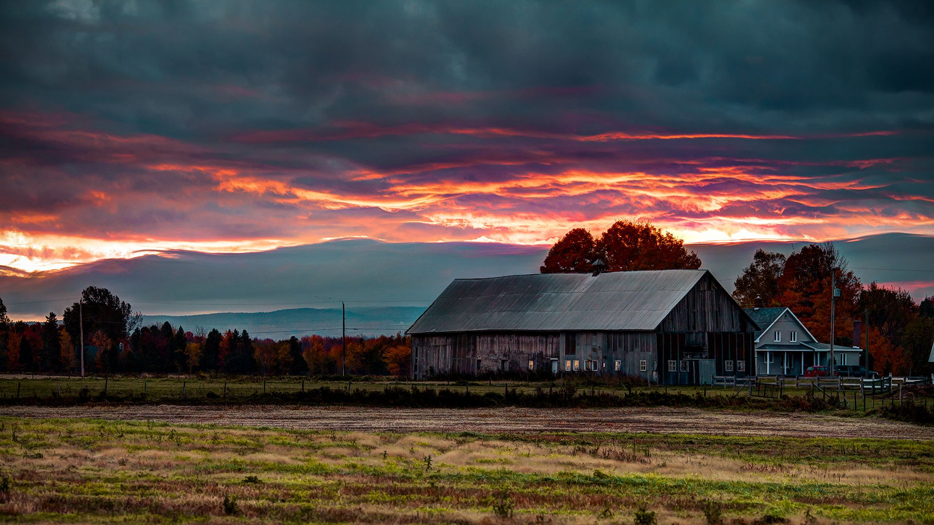 Nature Landscapes Houses Barn Farm Rustic Fields Trees Autumn Fall Sunset Sunrise Sky Clouds Wallpaper Background