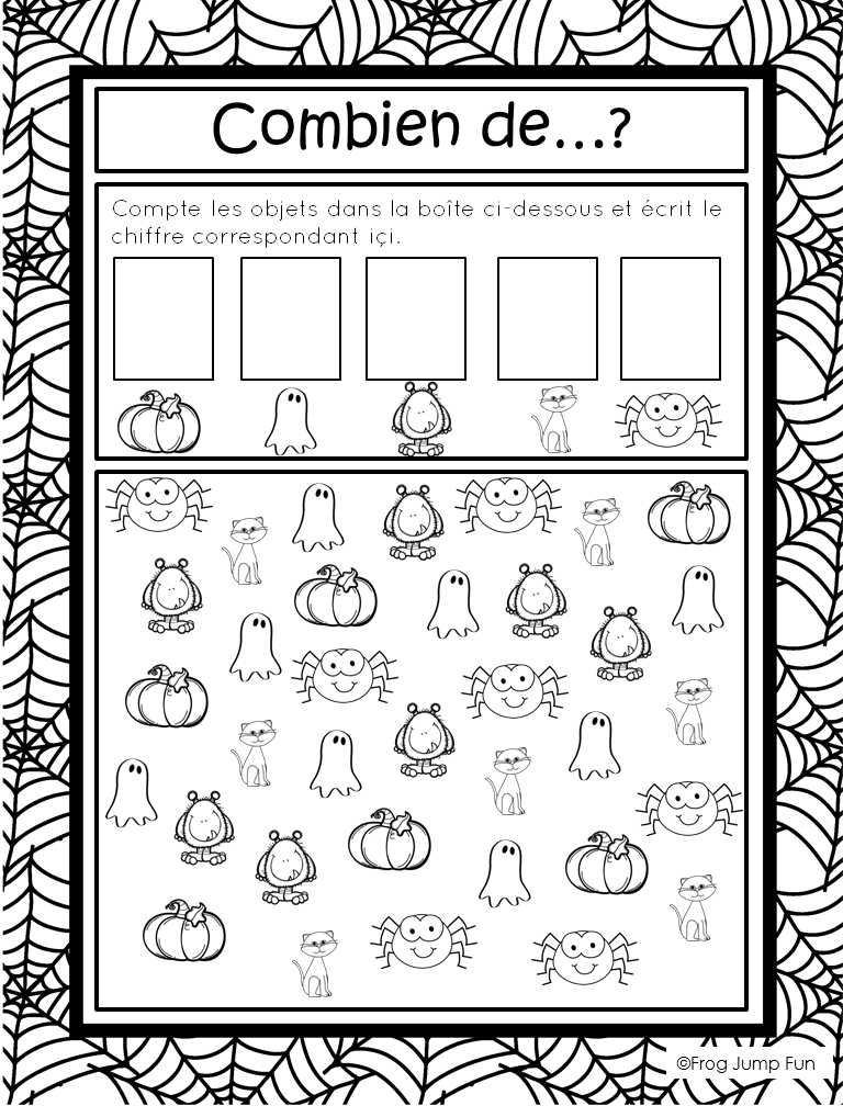 c 39 est l 39 halloween french halloween math halloween math math and french immersion. Black Bedroom Furniture Sets. Home Design Ideas