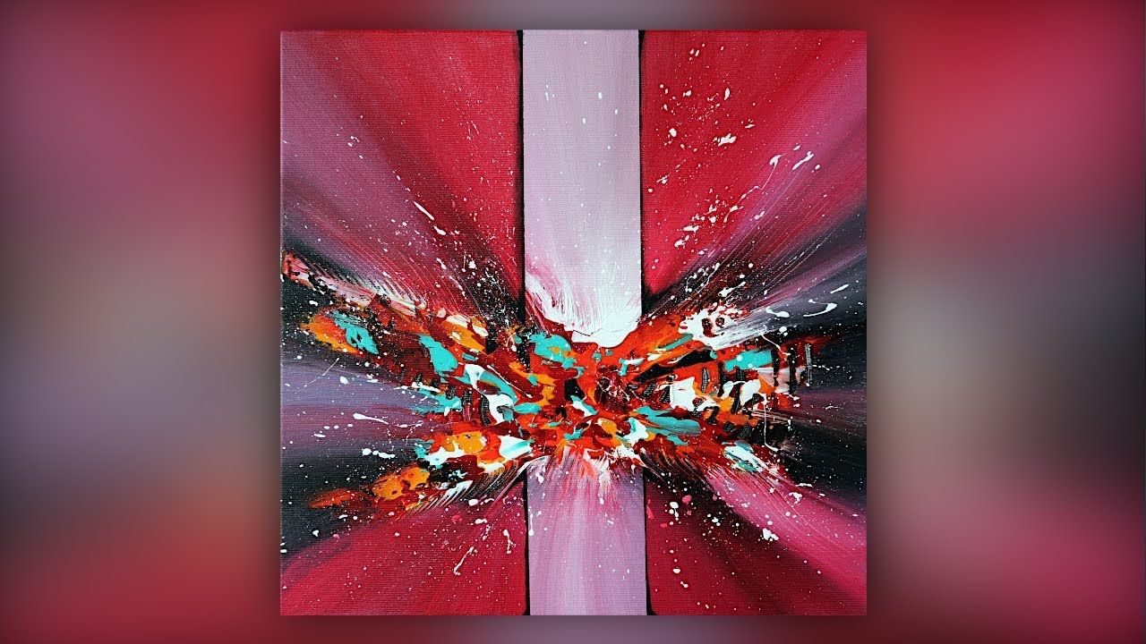 Colorful abstract painting acrylic paint palette knife