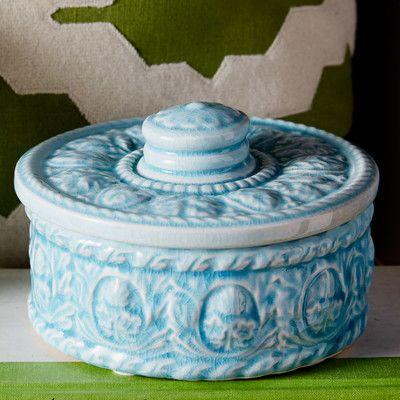 "SagebrookHome Ceramic Covered Jar Size: 4"" H x 6.5"" W x 6.5"" D"