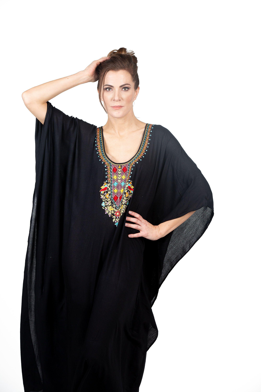 Black cotton kaftan caftan dress black kaftan boho