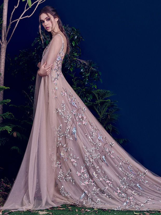 Mauve wedding gown with bird and leaf appliques | Wedding Gowns ...