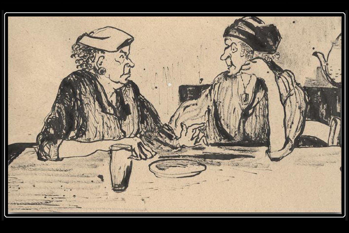 2 old Woman - ink - Art by D. Elsner - Schwintowsky