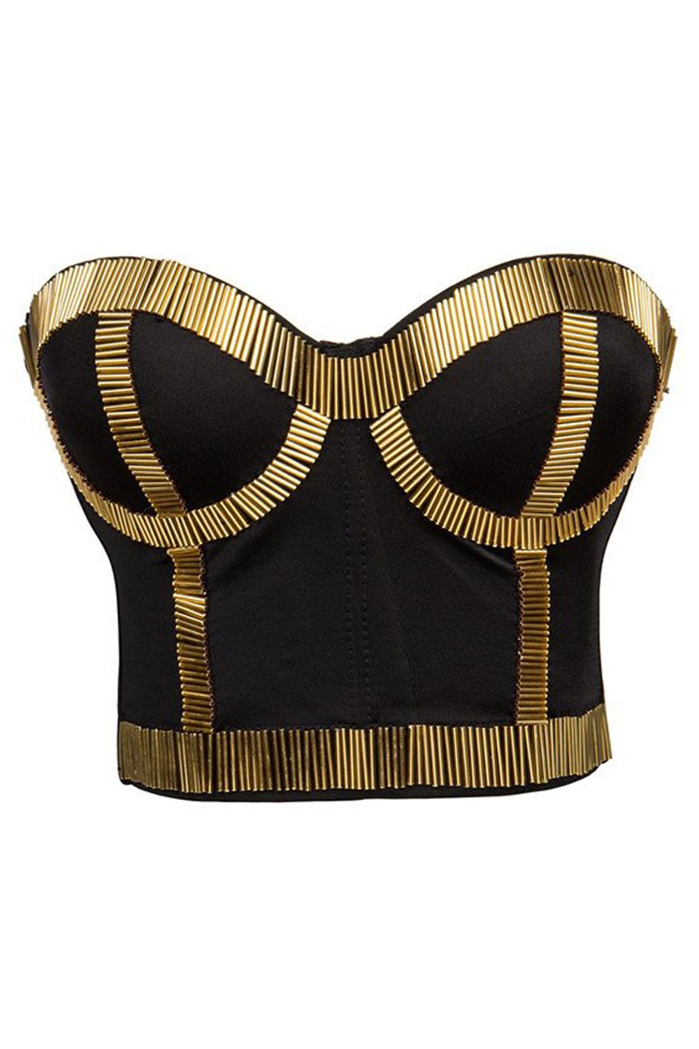 5675fa0c079 The Atomic Black and Gold Bustier Top features a black B cup underwire  bodice with beautiful gold rods symmetrical pattern over bust