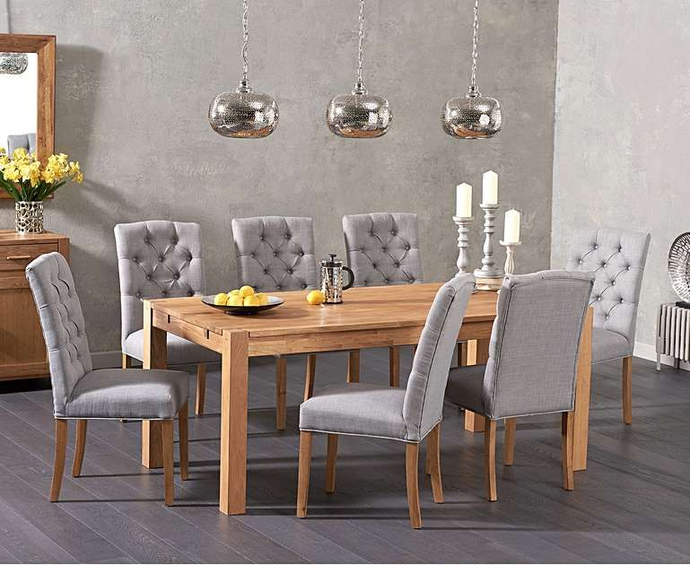 Combining High Quality Oak With Stylish Comfortable Chairs The Verona 180cm Solid Oak Dining Table With Claudia Fabric Chairs Will Be A Valuable Addition To A Solid Oak Dining Table Oak Dining