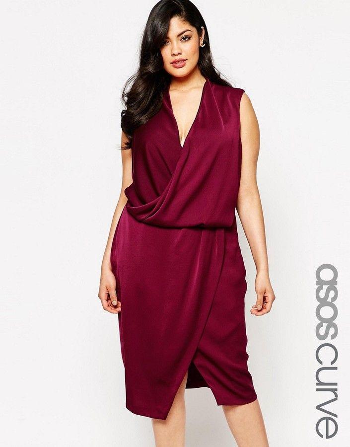 ASOS Curve ASOS CURVE WEDDING Cowl Midi Dress, Plus Size ...
