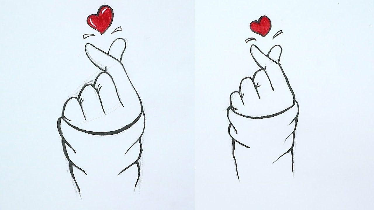 تعلم رسم يد وقلب الحركة الكورية تعلم كيف ترسم خطوة بخطوة للمبتدئين Easy Drawings Abstract Art Painting Drawings