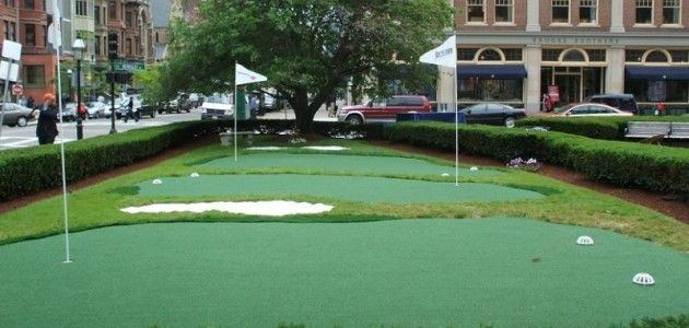 Apartment Building Synthetic Putting Green   Backyard ...