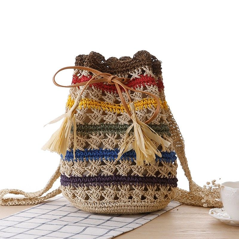 Multicolor Backpack Light Weight Knitting Bucket Bag #autumnseason