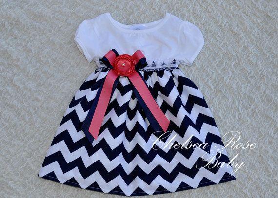 b17b807f6805 Gorgeous Navy and Coral Chevron Baby and Toddler Dress, Baby Girl Dress,  Flower Girl Dress, Designer Summer Dress, Girls Dress