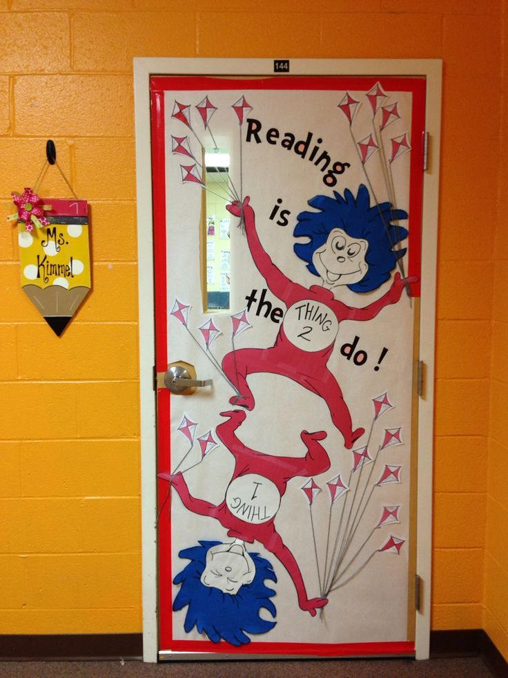 Dr seuss thing 1 and thing 2 classroom door for Art book decoration ideas