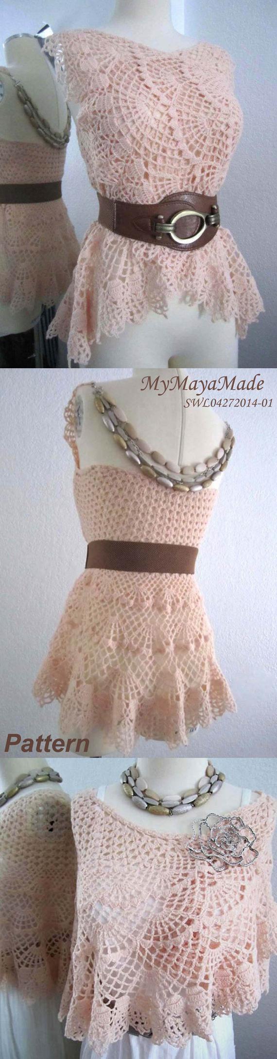 Crochet Pattern - Lithe and Pierced Crochet Dress, Shawl or Skirt ...