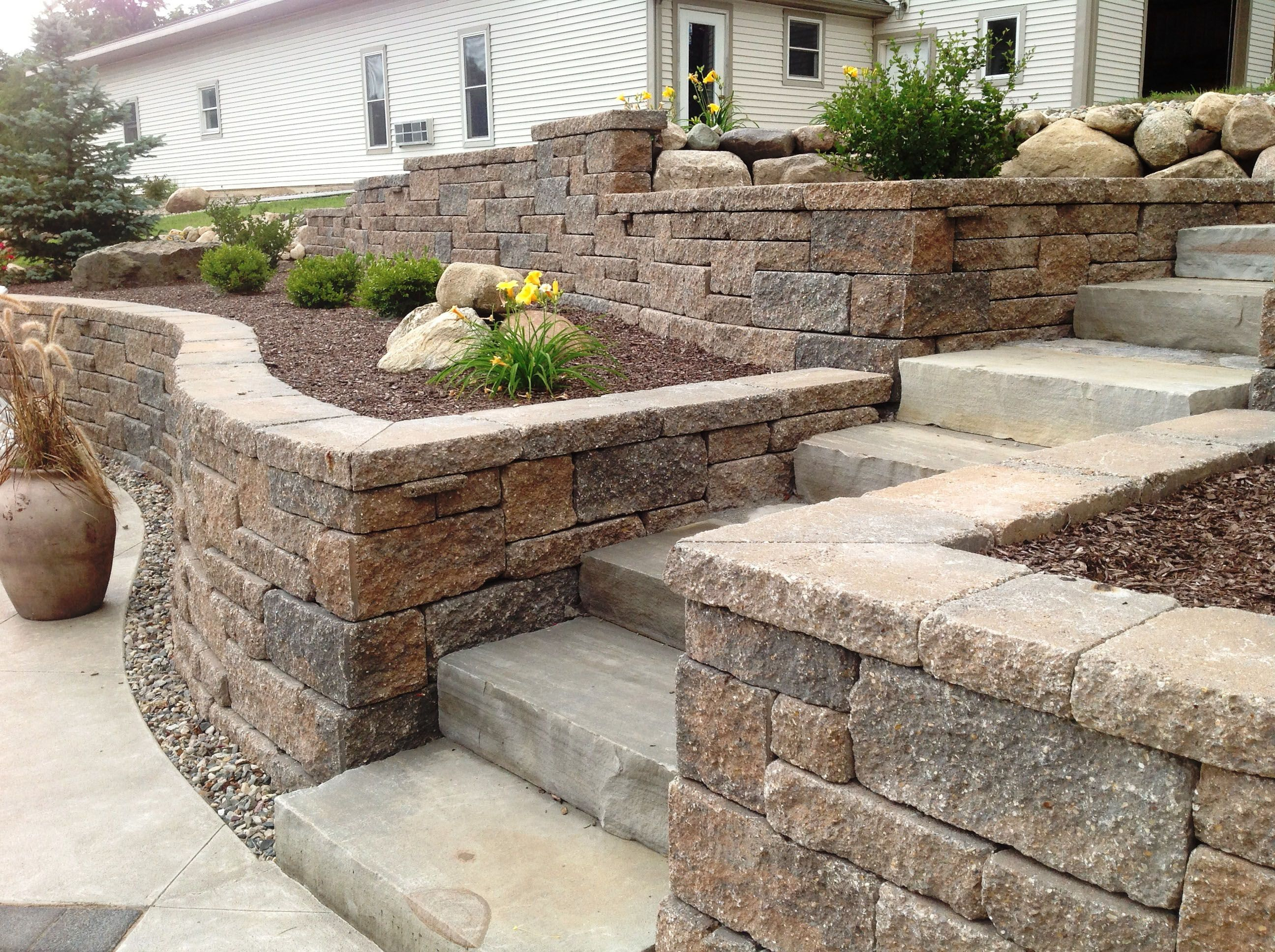 Retaining Walls Allan Block Wall Systems Landscaping Retaining Walls Front Yard Concrete Patio Designs