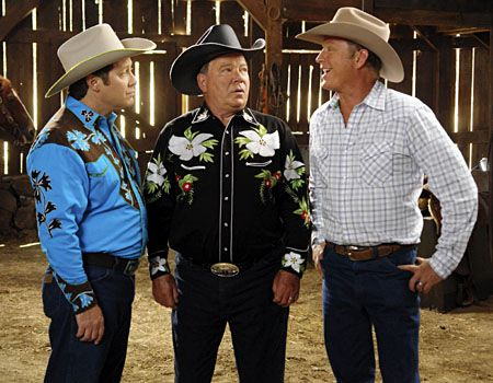"James Spader as Alan Shore; William Shatner as Denny Crane;  Christopher Rich as Melvin Palmer - ""Boston Legal"", Season 5, ""Happy Trails"".  Vivian Zink/ABC"