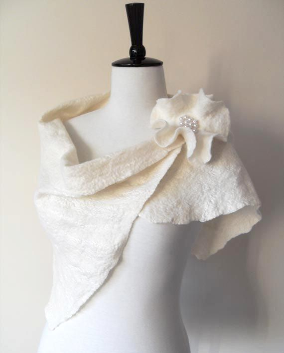 a1f4344f9cd Wedding Shawl Bridal Shawl Bridal Wrap Ivory Bridal Stole Shrug Scarf Wool  and Silk with brooch