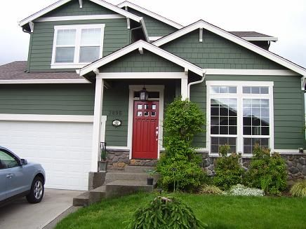 Green siding red door dream home pinterest exterior for Green siding house