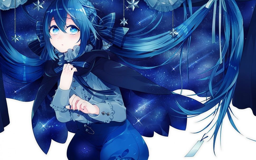 Female Anime Character With Blue Hair And Blue Eyes Hd Wallpaper Wallpaper Flare Anime Anime Backgrounds Wallpapers Anime Wallpaper