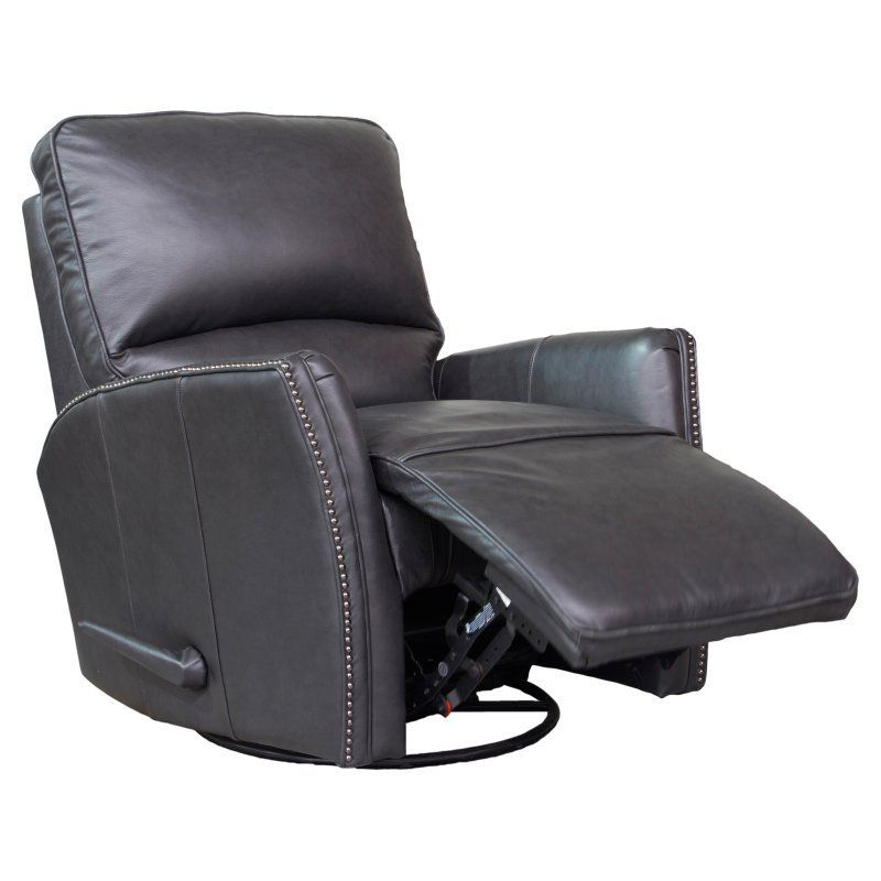 Barcalounger Bench Part - 17: Barcalounger Cordoba Swivel Glider Recliner In Leather Gray - 84555570095
