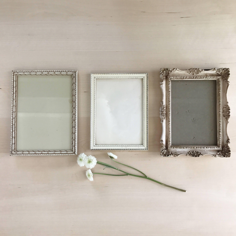 Vintage Frames Set Of 3 Mismatched Instant Collection Off White Frames Picture Frames By Pebblecreekgoods On White Picture Frames Frame Set Vintage Frames