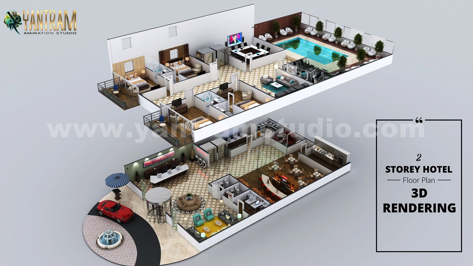 Hotel 3d Floor Plan Rendering With Beautiful Backyard Pool Landscaping By Architectural Studio Hotel Floor Plan Interior Floor Plan Architectural Design Studio