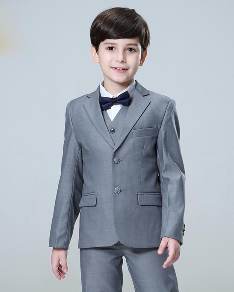 8ef3dd0f0 Gray Child Suit Boy Wedding Tuxedo 3 Pieces (jacket+pants+vest) in ...