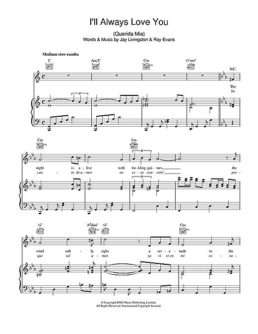 I'll Always Love You (Querida Mia) by Dean Martin Piano