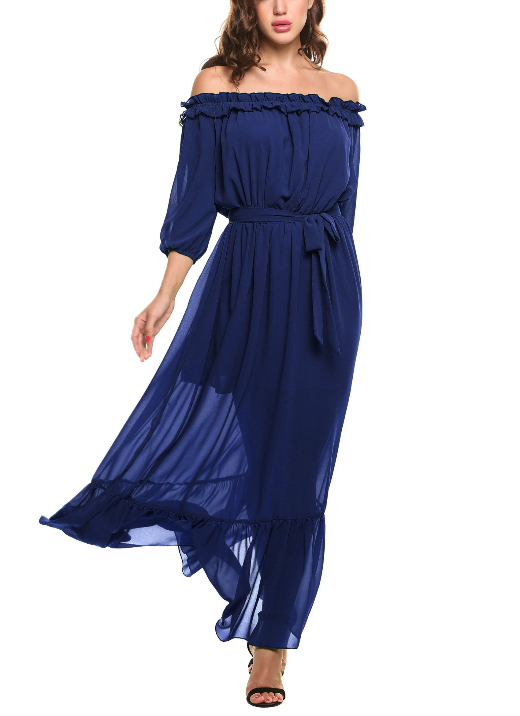 737cabd9818a Zeagoo Womens Ruffles Off Shoulder 3 4 Sleeve Chiffon Split Beach Maxi Dress  Large Royal Blue -- Read more reviews of the product by visiting the link  on ...