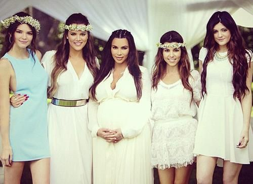 Kimu0027s Kardashian Baby Shower Alongside Her Sisters Khloe Kardashian, Kourtney  Kardashian, Kendall Jenner And
