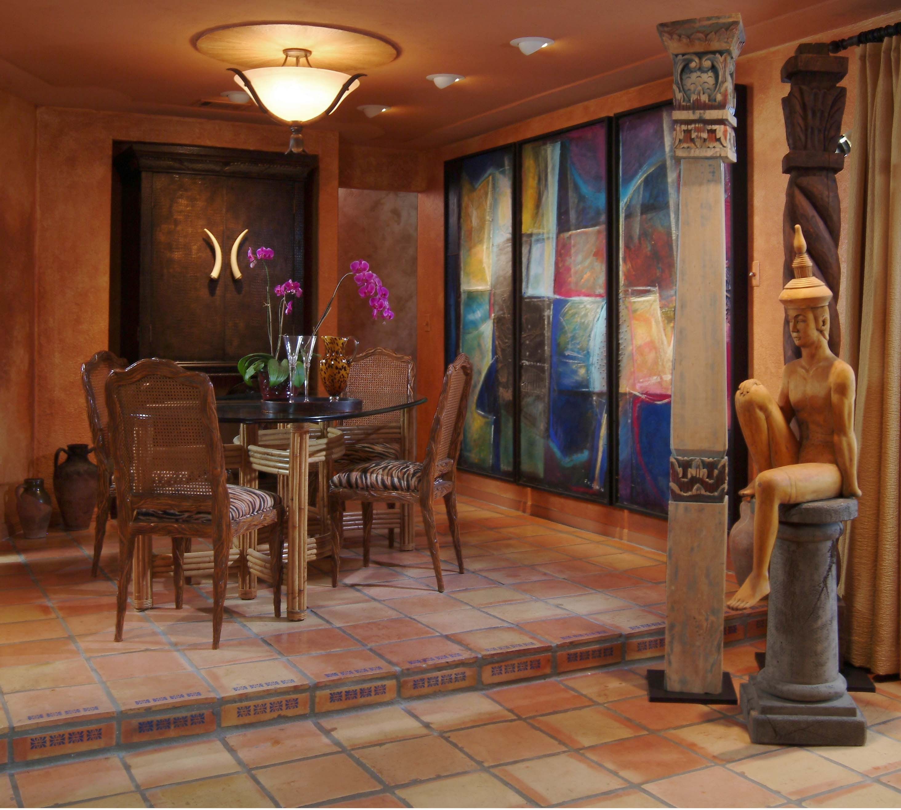 2014 Home Decorating Color Trends Moroccan Dining Room Trend Interior With Ambient Lighting And Colorful Accent Wall