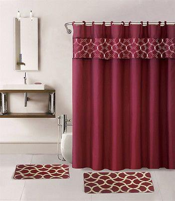 15pc Burgundy Geometric Bathroom Set Bath Mats Shower Curtain Fabric Hooks Fabric Shower Curtains Bathroom Sets Shower Curtains Walmart