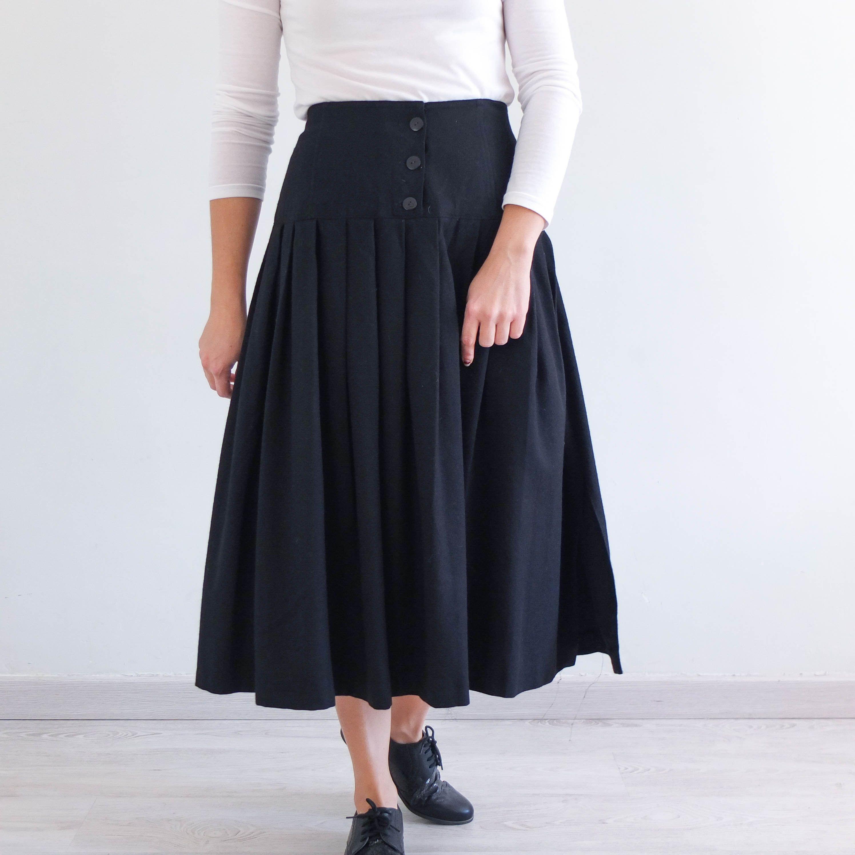 Vintage 80s Cotton Colorblock Circle Skirt 1980s Minimalist Black and Kahki High Waisted Skirt Size Small 25 26