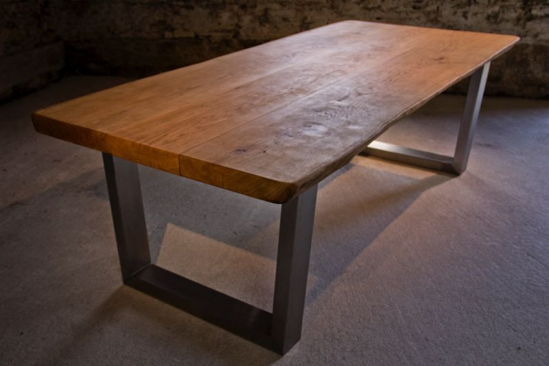 Solid Oak, Brushed Stainless Steel 120 X 60mm Tapered Legs · Oak Dining  TableBrushed ...