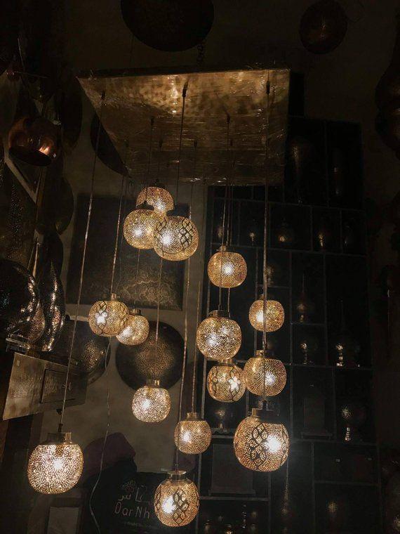 pendant light moroccan copper brass chandelier menara ball brass rh pinterest com