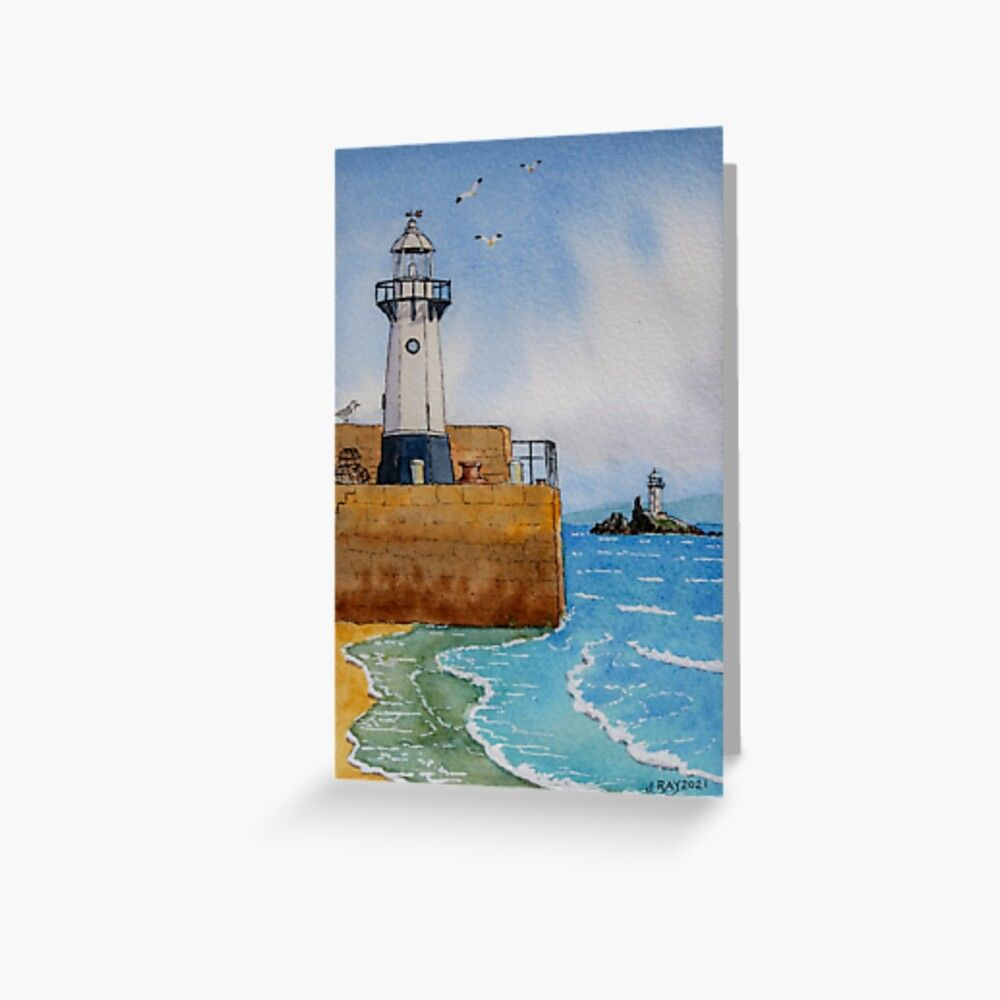 St Ives and Godrevy Lighthouses Greeting Card by John Ray