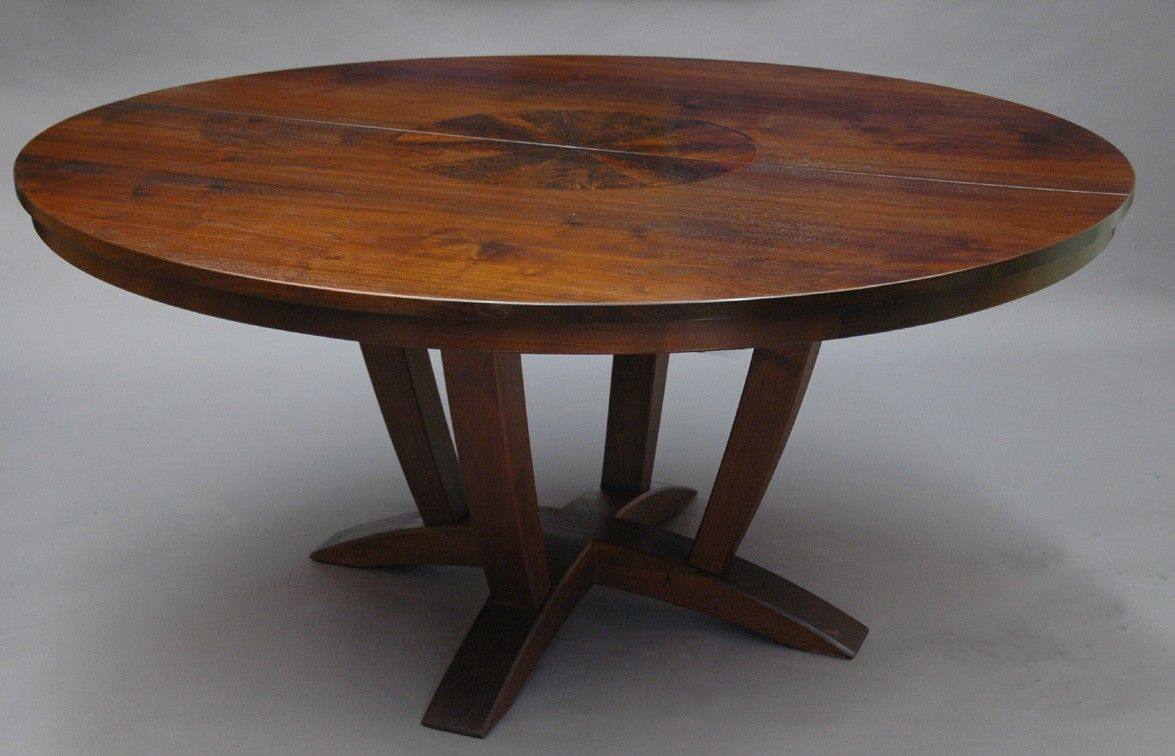 Brown Polished Chestnut Wood Expandable Dining Table With Round