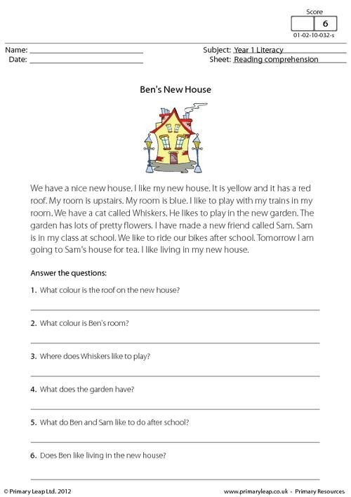 PrimaryLeap.co.uk - Reading comprehension - Ben's New House ...