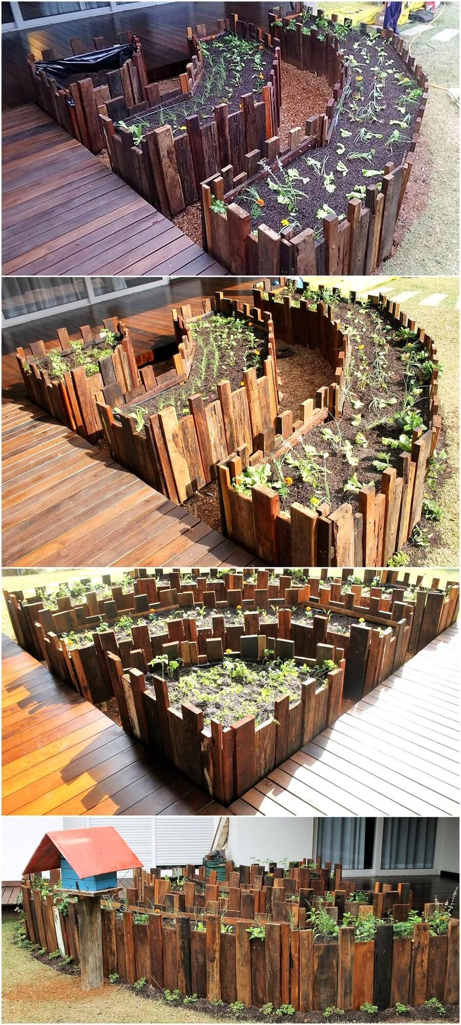 Raised Garden Made By Using Used Pallet Wood #woodpalletfurniture