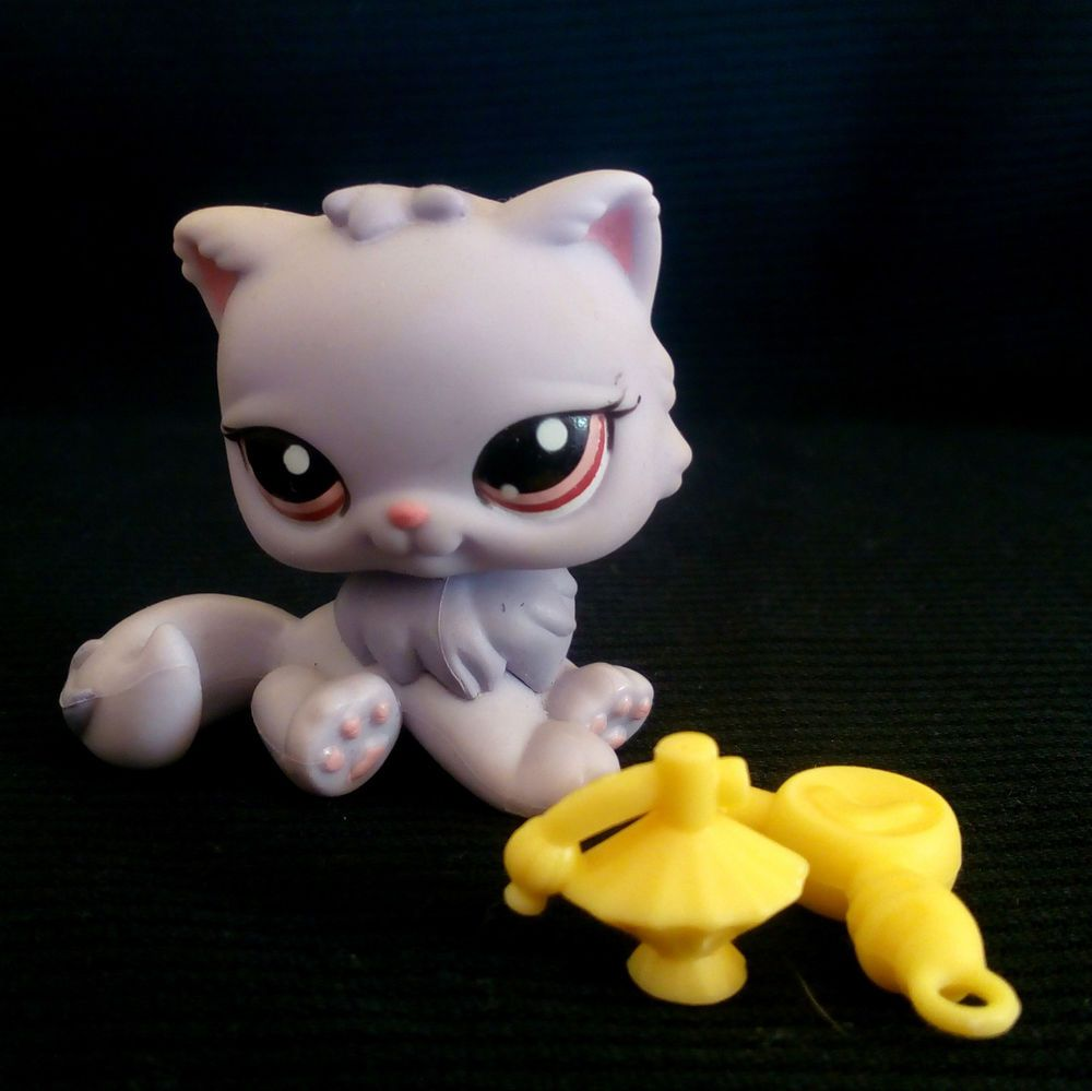 Littlest Pet Shop 1041 Persian Cat LPS Toy HASBRO 2007 Violet Long tail