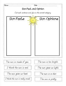 Fact and opinion sentence strips