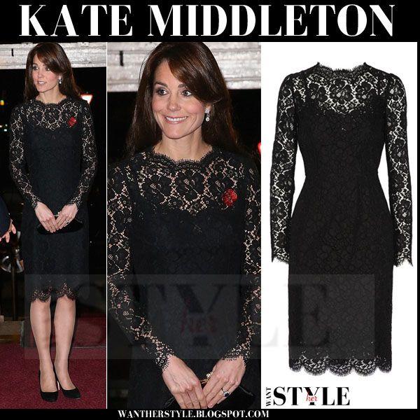 Kate Middleton In Black Lace Dress Fashion In 2019 Pinterest